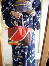 紺浴衣、帯×shibafオレンジ