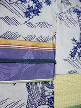 むらさき帯×紺浴衣+藍色帯締め
