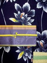 むらさき帯×紺浴衣+黄色帯締め