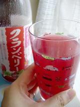 クランベリージュース、ボトルとグラス