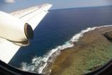 珊瑚礁、機上より