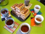 みんなでお茶♪コースターもshibaf製。